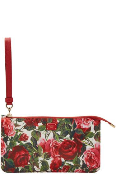 Dolce & Gabbana - レッド スモール ローズ ジップ ポーチ