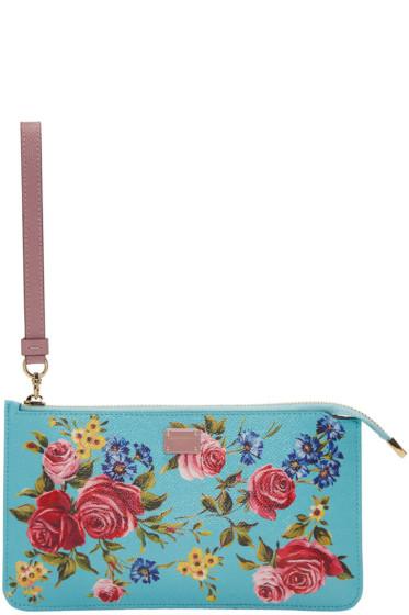 Dolce & Gabbana - ブルー スモール ローズ ジップ ポーチ