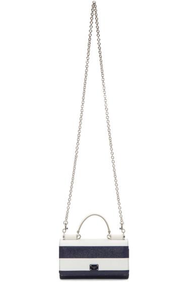 Dolce & Gabbana - White & Navy Small Striped Chain Wallet Bag