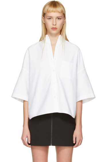 R13 - White Cropped Big Oxford Shirt