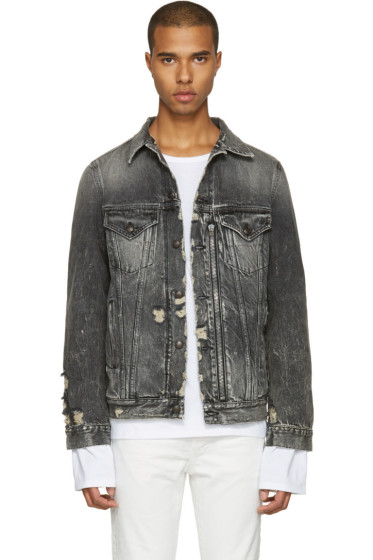 R13 - Black Denim Distressed Zip Trucker Jacket