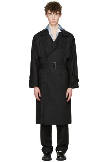 Maison Margiela - ブラック オーバーサイズ トレンチ コート
