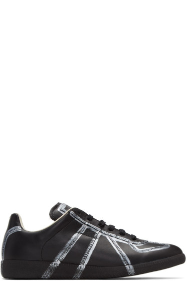 Maison Margiela - Black & Silver Painted Lines Replica Sneakers
