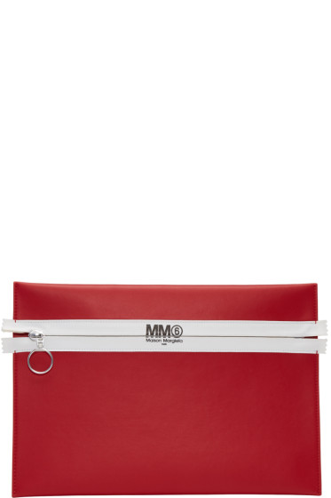 MM6 Maison Margiela - Red Faux-Leather Zip Pouch