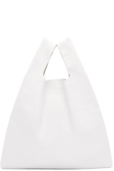 MM6 Maison Margiela - White Faux-Leather Tote