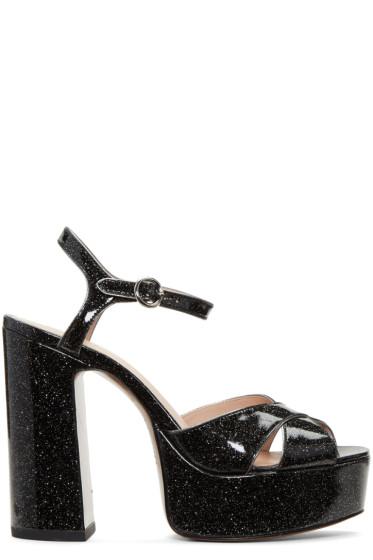 Marc Jacobs - Black Glitter Lust Platform Sandals