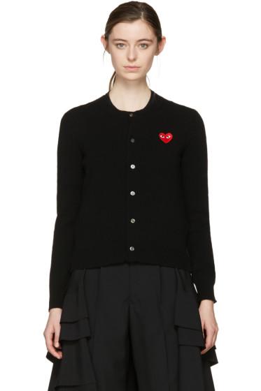 Comme des Garçons Play - Black Wool Heart Patch Cardigan