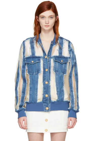 Balmain - Blue Denim Sheer Jacket