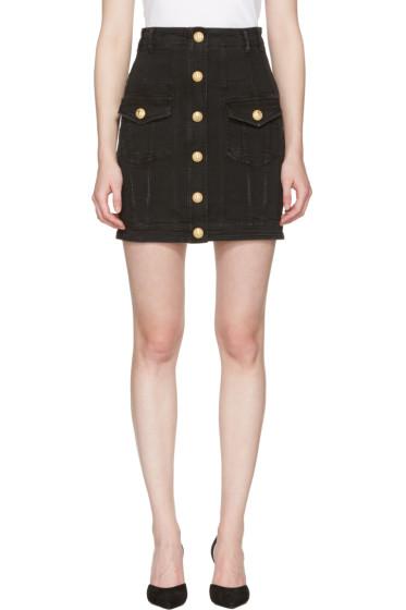Balmain - Black Denim Buttons Miniskirt