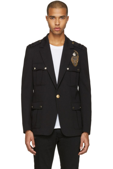 Balmain - Black Embroidered Military Blazer