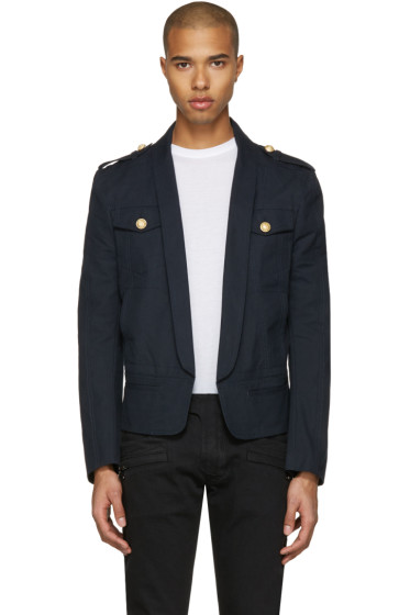 Balmain - Navy Shawl Collar Military Blazer