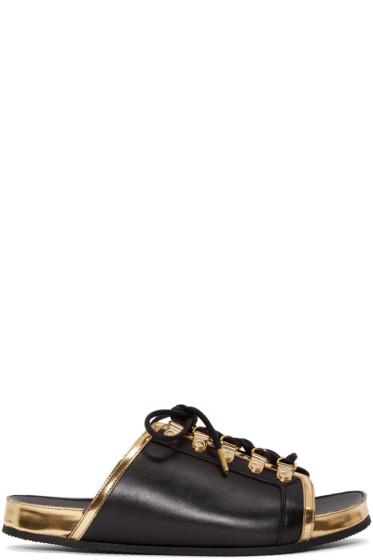 Balmain - Black & Gold Lace-Up Sandals