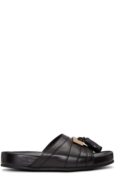 Balmain - Black Leather Pom Pom Sandals