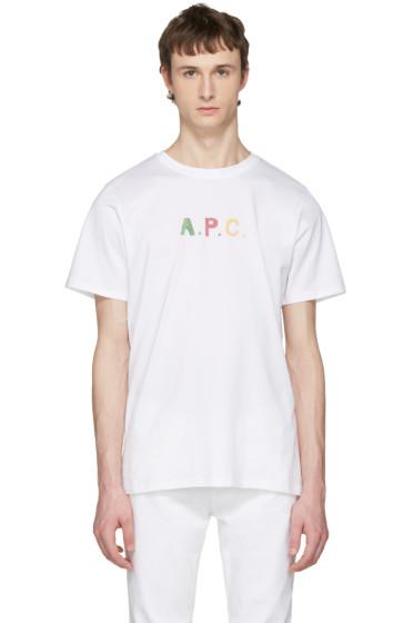 A.P.C. - White Logo 'Couleurs' T-Shirt