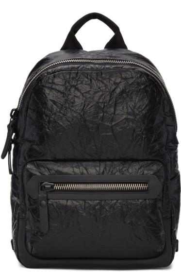 Lanvin - Black Crinkled Leather Backpack