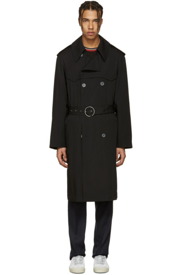 Lanvin - ブラック ウール トレンチ コート