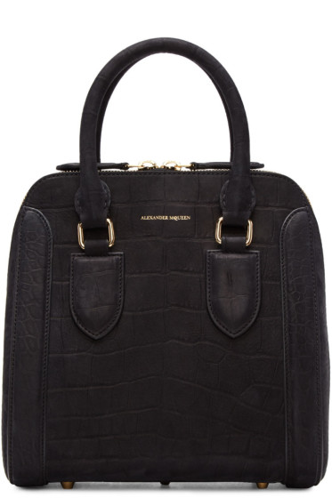 Alexander McQueen - Black Croc-Embossed Medium Heroine Bag