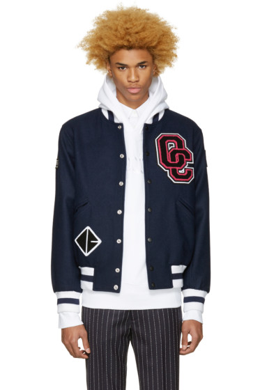 Opening Ceremony -  SSENSE Exclusive Navy Logo Varsity Jacket