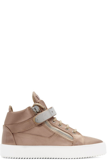 Giuseppe Zanotti - SSENSE Exclusive Pink Satin May London High-Top Sneakers