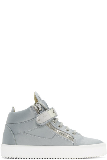 Giuseppe Zanotti - SSENSE Exclusive Blue Satin May London High-Top Sneakers