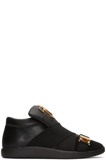 Giuseppe Zanotti - Black Crossover Strap Slip-On Sneakers