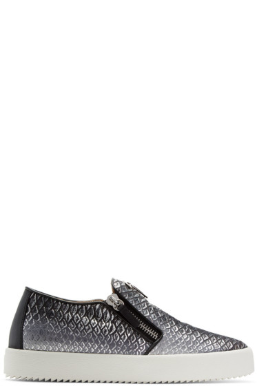 Giuseppe Zanotti - Black & Silver May London Slip-On Sneakers