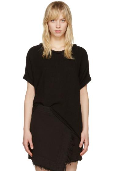 Raquel Allegra - Black Gauze Boxy T-Shirt