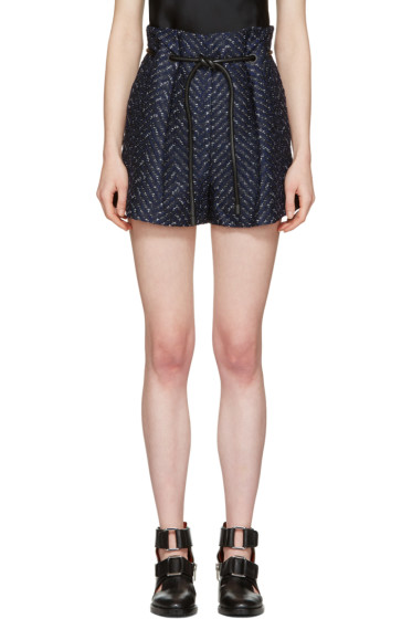 3.1 Phillip Lim - Navy Tailored Pleated Chevron Shorts