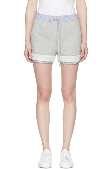 3.1 Phillip Lim - Grey Poplin-Trimmed Shorts