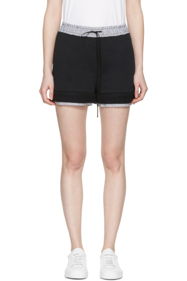 3.1 Phillip Lim - Black Poplin-Trimmed Shorts
