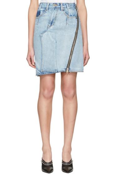 3.1 Phillip Lim - Indigo Asymmetric Zip Denim Miniskirt