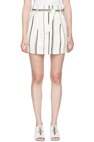 3.1 Phillip Lim - Off-White Striped Paper Bag Miniskirt