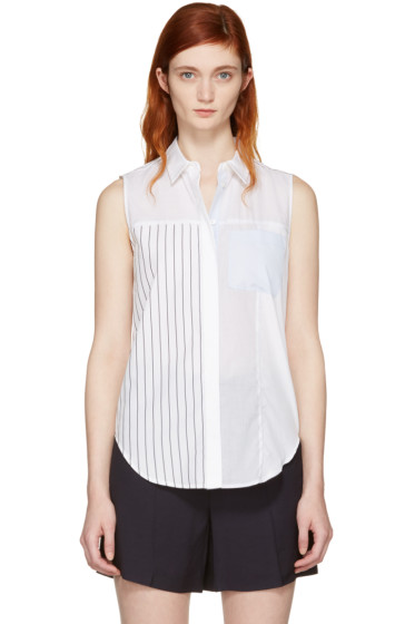 3.1 Phillip Lim - ホワイト パッチワーク スリーブレス シャツ