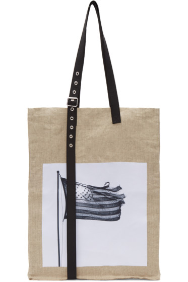 Raf Simons - Beige Robert Mapplethorpe Edition Extreme Big American Flag Tote