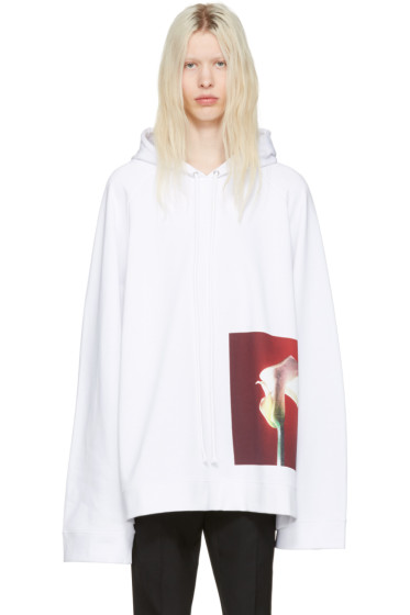 Raf Simons - White Robert Mapplethorpe Edition Oversized Calla Lily Hoodie
