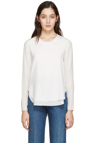 Chloé - White Scalloped Collar Blouse