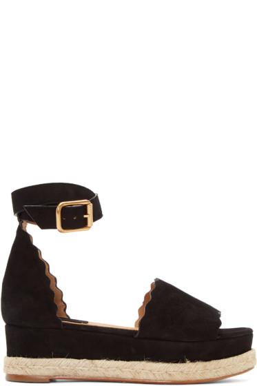 Chloé - Black Suede Lauren Espadrille Sandals