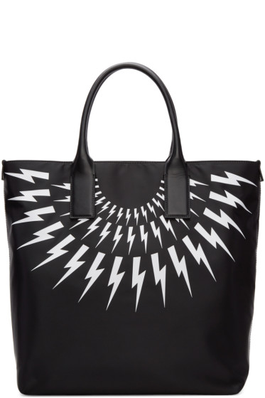 Neil Barrett - Black Fairisle Thunderbolt Tote