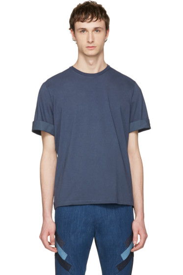 Neil Barrett - Indigo Faded Thunderbolt T-Shirt