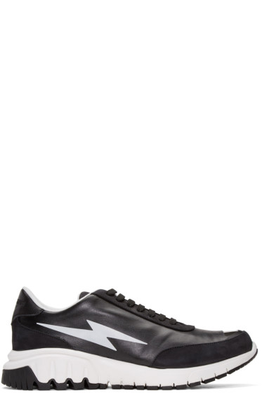 Neil Barrett - Black Thunderbolt Sneakers