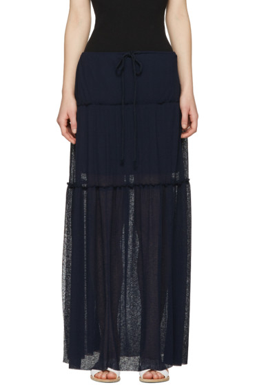 See by Chloé - Navy Long Gauze Skirt