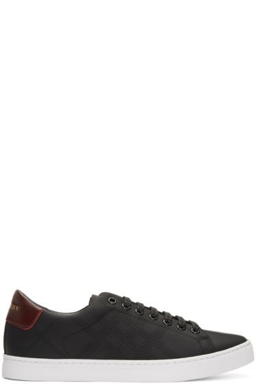 Burberry - Black Perforated Check Albert Sneakers