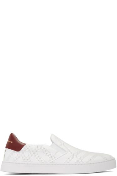 Burberry - White Copford Check Slip-On Sneakers