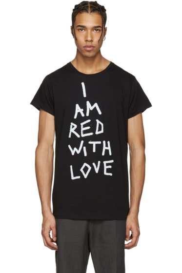 Ann Demeulemeester - ブラック I Am Red With Love T シャツ