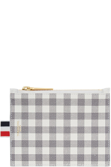 Thom Browne - Blue & White Small Gingham Coin Purse