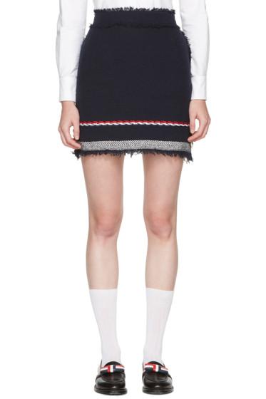 Thom Browne - Navy Tweed Selvedge Hem Miniskirt