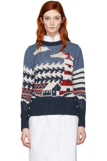 Thom Browne - Tricolor Crewneck Graphic Sweater