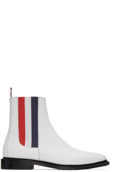 Thom Browne - White Chelsea Boots