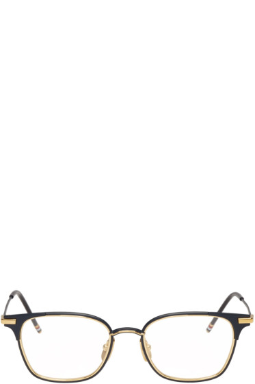 Thom Browne - Navy & Gold TB-107 Glasses