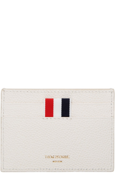 Thom Browne - Off-White Diagonal Stripe Single Card Holder